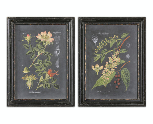 Set of 2 Midnight Floral Botanicals Wall Art Prints with Distressed Wooden Frames - IMAGE 1