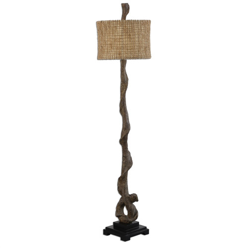 5.75' Weathered Driftwood Floor Lamp with Beige Burlap Twine Round Drum Shade - IMAGE 1