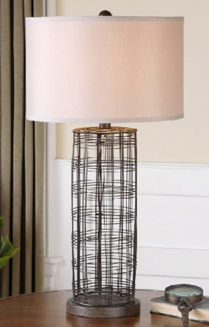 """30"""" Bronze and White Rustic Hand-Forged Metal Wire Decorative Table Lamp - IMAGE 1"""