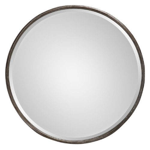 "24"" Silver Hammered Metal-Framed Round Beveled Wall Mirror - IMAGE 1"