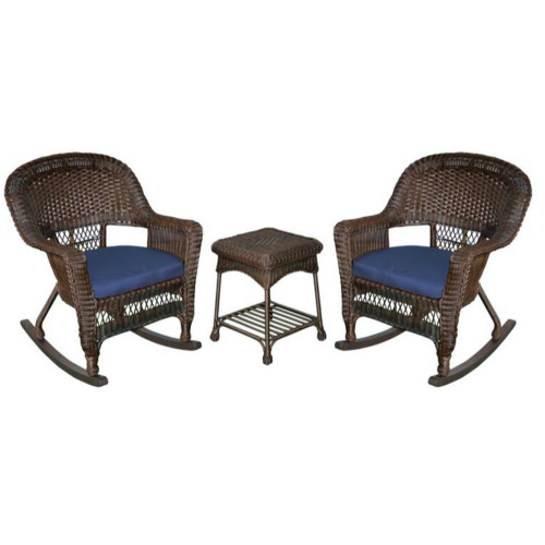 """Set of 3 Brown Resin Wicker Outdoor Garden Patio Rocking Chairs and Table with Blue Cushions 36"""" - IMAGE 1"""
