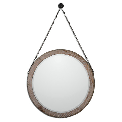 """34"""" Brown Round Beveled Mirror with Stained Wooden Frame and Hanging Chain - IMAGE 1"""