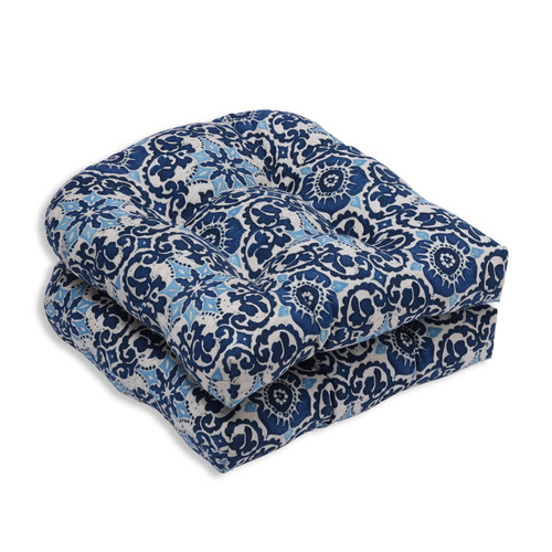 """Set of 2 Blue and White Floral Outdoor Patio Seat Cushions 19"""" - IMAGE 1"""