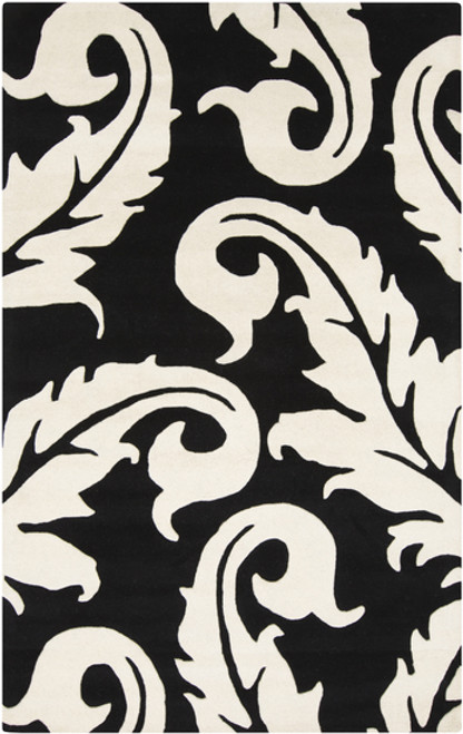2' x 3' Medieval Raven Black and Vanilla White Hand Tufted New Zealand Wool Area Throw Rug - IMAGE 1