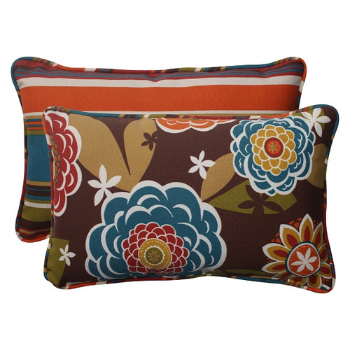 """Set of 2 Reversible Tahitian Chocolate Outdoor Corded Throw Pillows 18.5"""" - IMAGE 1"""