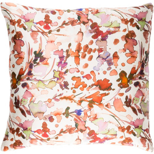 "22"" White and Orange Contemporary Floral Square Throw Pillow - IMAGE 1"