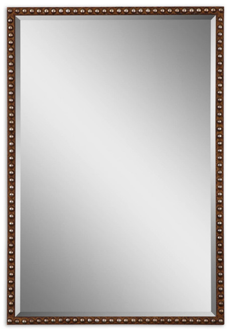 """32"""" Brown and Silver Rectangular Hanging Wall Mirror - IMAGE 1"""
