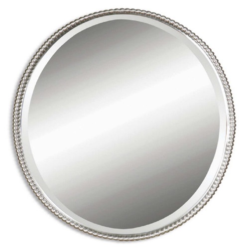 """32"""" Hand Forged Brushed Nickel Oval Beveled Wall Mirror - IMAGE 1"""