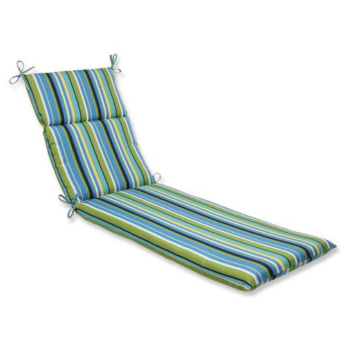"""72.5"""" Strisce Luminose Blue and Green Striped Outdoor Patio Chaise Lounge Cushion - IMAGE 1"""
