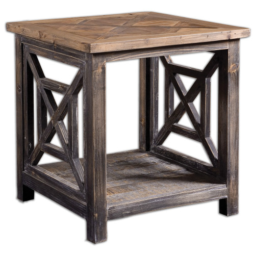 """22"""" Carter Rustic Black and Gray Crisscross Patterned Reclaimed Wood End Table - IMAGE 1"""
