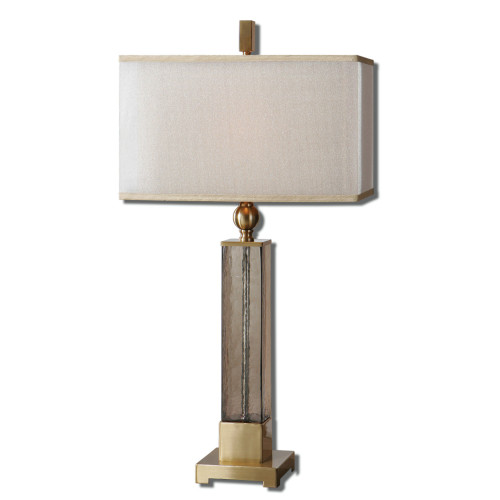"""33"""" Ivory and Gold Glass and Brushed Brass Table Lamp with Double Hardback Shades - IMAGE 1"""