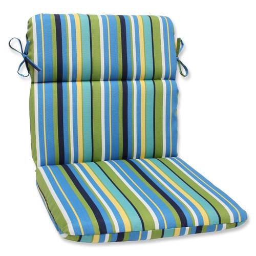 """40.5"""" Strisce Luminose Blue and Green Striped Outdoor Patio Rounded Chair Cushion - IMAGE 1"""