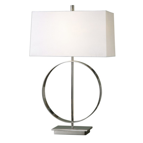 """29"""" White and Silver Round Polished Nickel Band Table Lamp with Hardback Shade - IMAGE 1"""