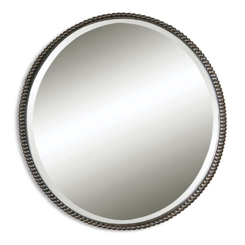 """32"""" Hand Forged Oil Rubbed Bronze Beaded Oval Beveled Wall Mirror - IMAGE 1"""