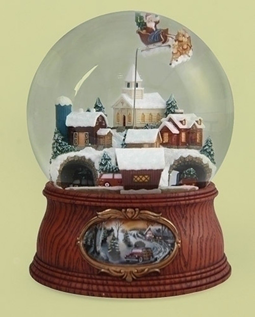 """7.75"""" Musical Santa Flying Over Town with Rotating Cars Decorative Christmas Glitter Dome - IMAGE 1"""