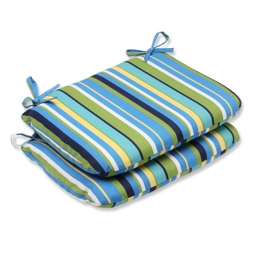 """Set of 2 Strisce Luminose Blue and Green Striped Outdoor Patio Rounded Seat Cushions 18.5"""" - IMAGE 1"""