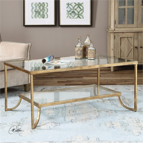 3.75' Antiqued Gold Leafed Hand Forged Metal 2-Tier Decorative Coffee Table - IMAGE 1