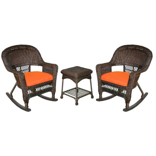 """Set of 3 Brown Resin Wicker Outdoor Garden Patio Rocking Chairs and Table with Orange Cushions 36"""" - IMAGE 1"""