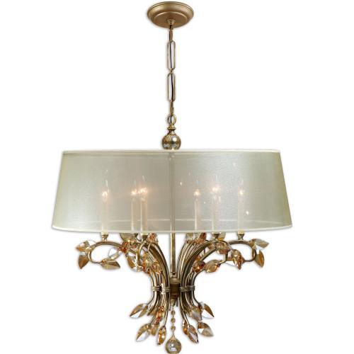 """29"""" Bronze Elegant Aged Crystal Leaves 6-Light Shade Hanging Chandelier - IMAGE 1"""