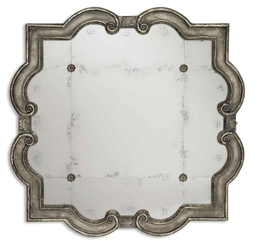 3' Distressed Silver Leaf Tiled Decorative Scroll Framed Square Wall Mirror - IMAGE 1