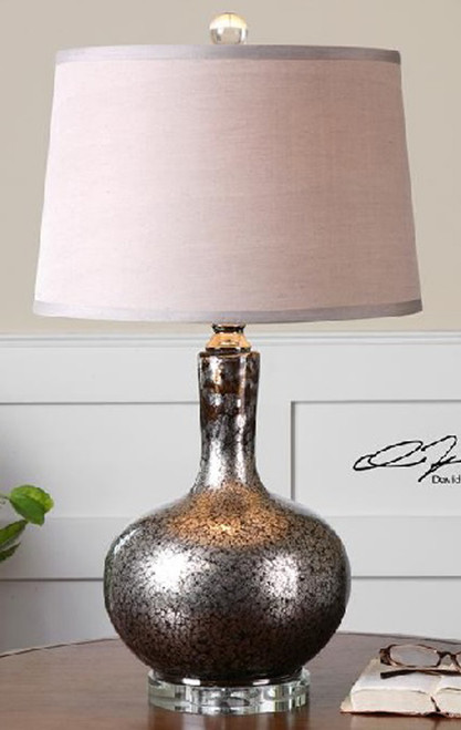"27"" Mottled Silver and Black Mercury Glass Decorative Table Lamp - IMAGE 1"