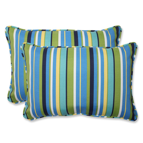 "Set of 2 Strisce Luminose Striped Blue and Green Rectangular Outdoor Corded Throw Pillows 24.5"" - IMAGE 1"