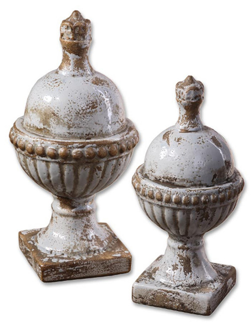 """Pack of 2 Distressed Powder Blue and Khaki Decorative Table Top Finials, 14"""" - IMAGE 1"""
