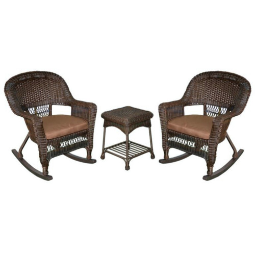 """Set of 3 Brown Resin Wicker Outdoor Garden Patio Rocking Chairs and Table with Brown Cushions 36"""" - IMAGE 1"""