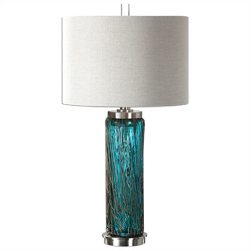 "30"" White and Blue Glass Table Lamp with Hardback Shade - IMAGE 1"