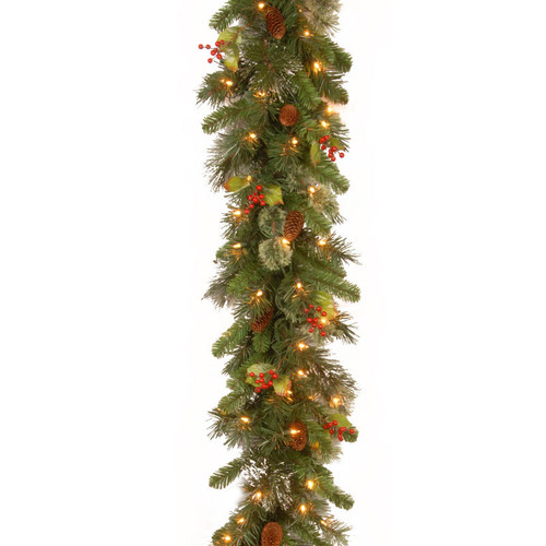 "9' x 12"" Pre-Lit Wintry Pine Artificial Christmas Garland with Cones, Berries and Snow - Clear Lights - IMAGE 1"