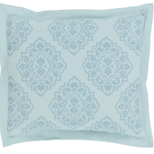 Fountain Spout Blue and Wedgewood Gray Damask Opulent Decorative King Sham - IMAGE 1