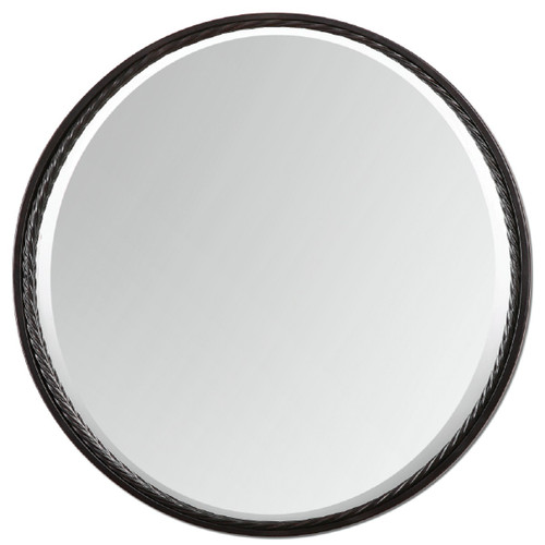 """32"""" Elegant Cheyenne Oval Brushed Bronze Finish Wall Mirror with Twisted Metal Trim - IMAGE 1"""