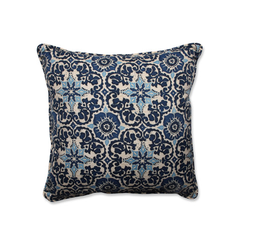 """25"""" Damask Elegance in Shades of Navy, and Icy Blue Decorative Floor Pillow - IMAGE 1"""