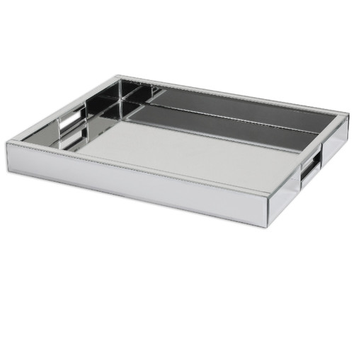 "18"" Contemporary Mirrored Decorative Rectangular Serving Tray - IMAGE 1"