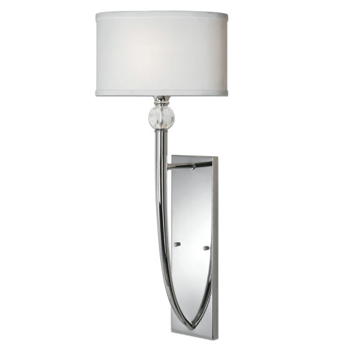"""29.5"""" White and Silver Chrome Wall Sconce with Crystal Ball Accents and Ellipse Hardback Shade - IMAGE 1"""