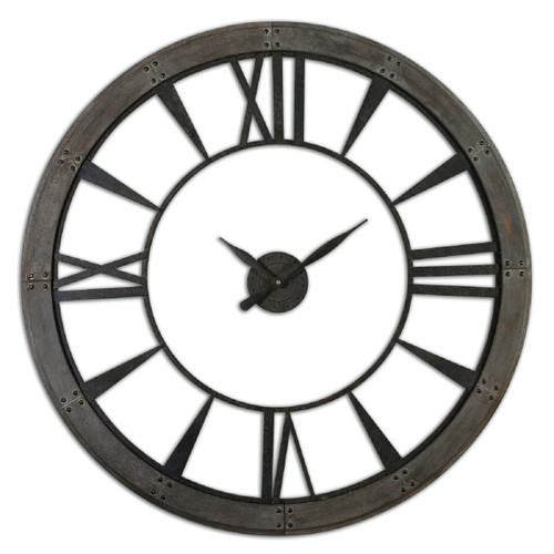 """60"""" Oversized Acossi Dark Bronze Finish Roman Numeral Wall Clock with Rusted Finish - IMAGE 1"""
