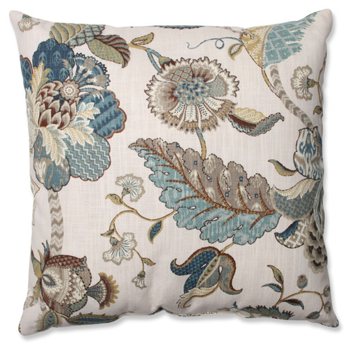"""18"""" Blue and Beige Floral Square Throw Pillow - IMAGE 1"""