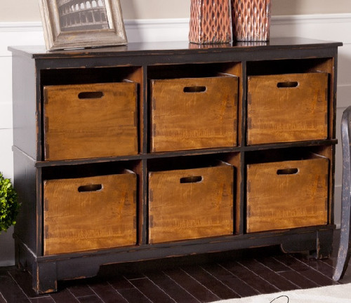 "47"" Worn Black Mahogany and Albania Wooden Hobby Cupboard Chest - IMAGE 1"