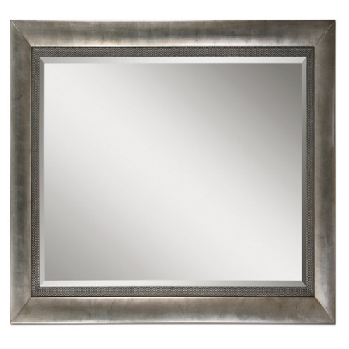 7' Rectangular Beveled Wall Mirror in Antiqued Silver Leaf Finish Wooden Frame - IMAGE 1