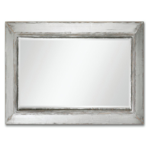 6' Oversized Beveled Rectangular Wall Mirror with Distressed Aged Silver Frame - IMAGE 1