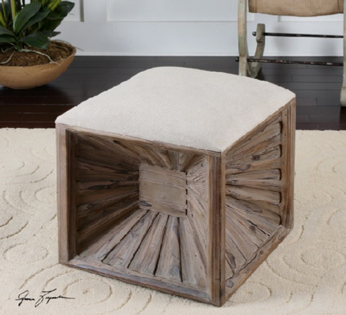 """19"""" White and Brown Rustic Cube Natural Linen Wooden Foot Stool Ottoman - IMAGE 1"""