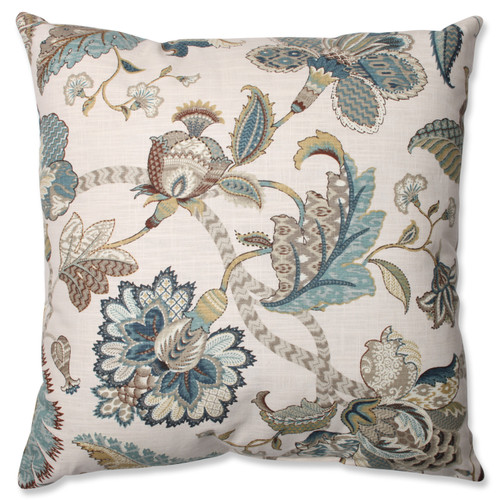 """23"""" Blue and Beige Floral Square Throw Pillow - IMAGE 1"""