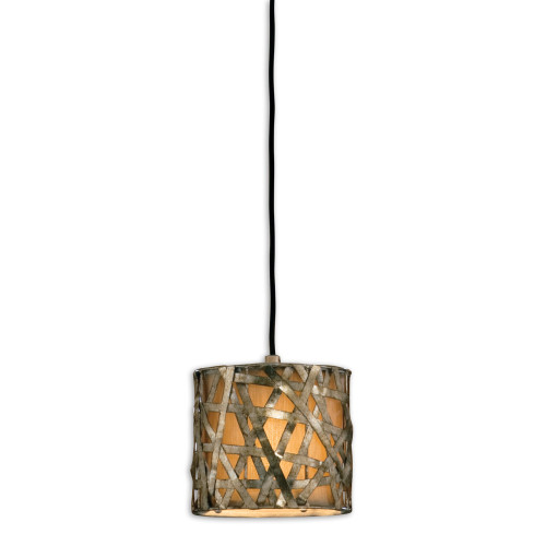 """8"""" Gold Industrial Aged Metal Mesh Mini Hanging Ceiling Light Fixture - IMAGE 1"""