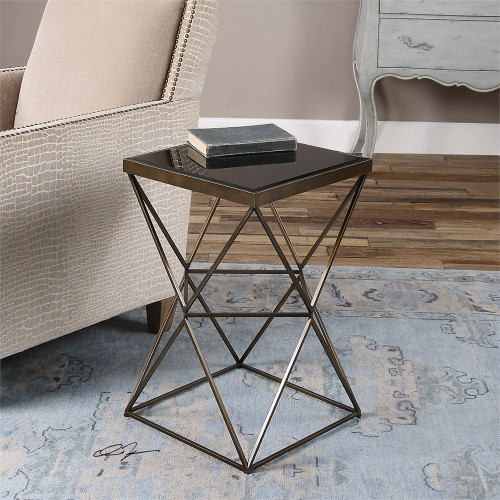 """24"""" Steel Caged Frame Finished in Antique Bronze with Beveled Black Tempered Glass Top Accent Table - IMAGE 1"""