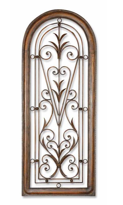 "Areca Brown Floral Leaf Scroll Flourish Decorative Metal Arch Wall Art, 50"" x 20"" - IMAGE 1"