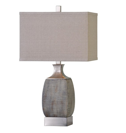 """28"""" Bronze and Beige Table Lamp with Hardback Shade - IMAGE 1"""