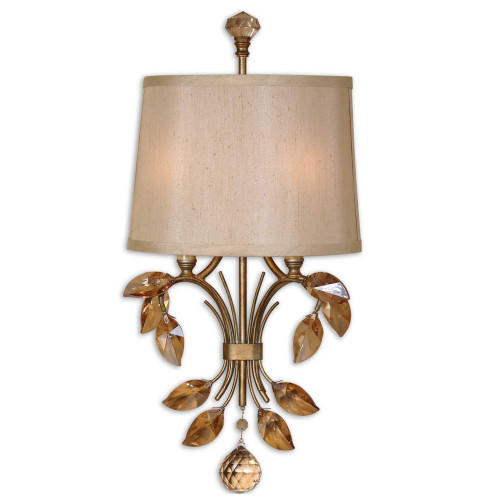 """22"""" Beige, Amber, and Gold 2-Light  Shade with Crystal Accent Vanity Wall Sconce - IMAGE 1"""