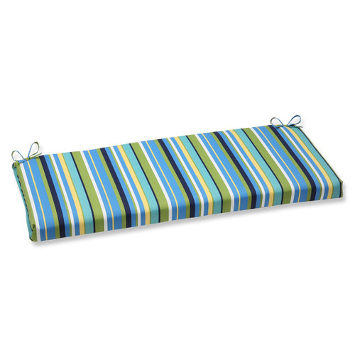 """45"""" Strisce Luminose Blue, Green and Yellow Striped Outdoor Patio Bench Cushion - IMAGE 1"""