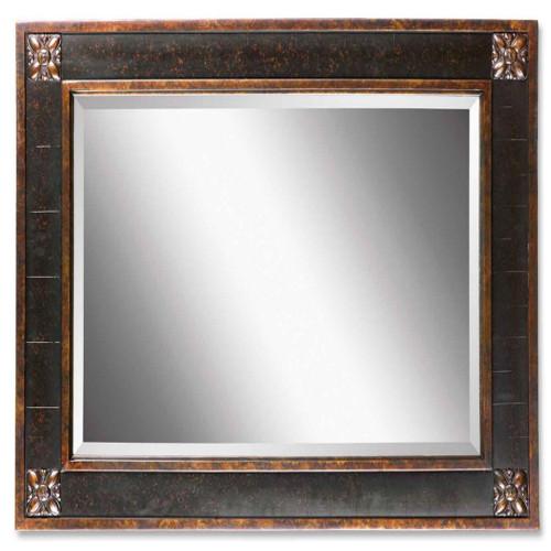3' Distressed Chestnut Brown Finished Framed Beveled Rectangular Wall Mirror - IMAGE 1