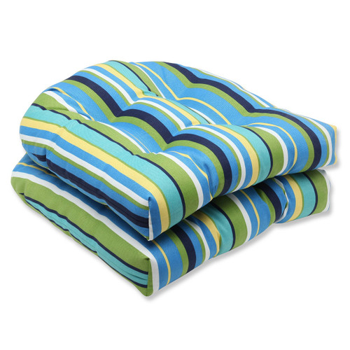 """Set of 2 Blue and Green Striped Outdoor Patio Wicker Chair Cushions 19"""" - IMAGE 1"""